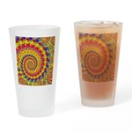 Crazy Yellow Fractal Art Pattern Drinking Glass