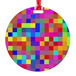 Rainbow Pixels Pattern Round Ornament