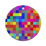 Rainbow Pixels Pattern Ornament (Round)