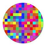 Rainbow Pixels Pattern Round Car Magnet