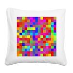Rainbow Pixels Pattern Square Canvas Pillow