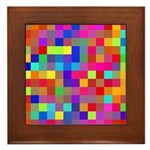 Rainbow Pixels Pattern Framed Tile