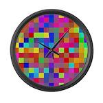 Rainbow Pixels Pattern Large Wall Clock
