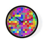 Rainbow Pixels Pattern Wall Clock