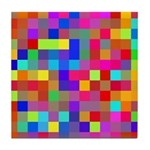 Rainbow Pixels Pattern Tile Coaster