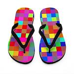 Rainbow Pixels Pattern Flip Flops