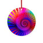 Pink Rainbow Fractal Pattern Ornament (Round)
