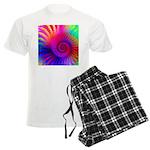 Pink Rainbow Fractal Pattern Men's Light Pajamas