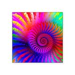 Pink Rainbow Fractal Pattern Square Sticker 3