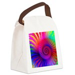 Pink Rainbow Fractal Pattern Canvas Lunch Bag