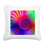 Pink Rainbow Fractal Pattern Square Canvas Pillow