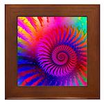 Pink Rainbow Fractal Pattern Framed Tile
