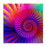 Pink Rainbow Fractal Pattern Tile Coaster