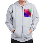 Pink Rainbow Fractal Pattern Zip Hoodie