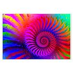 Pink Rainbow Fractal Pattern Large Poster