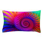 Pink Rainbow Fractal Pattern Pillow Case