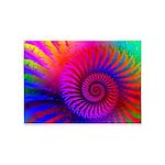 Pink Rainbow Fractal Pattern 5'x7'Area Rug
