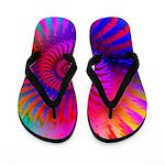 Pink Rainbow Fractal Pattern Flip Flops