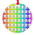 Rainbow Owl Pattern Round Ornament