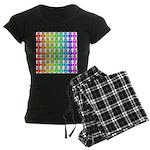 Rainbow Owl Pattern Women's Dark Pajamas