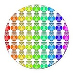 Rainbow Owl Pattern Round Car Magnet