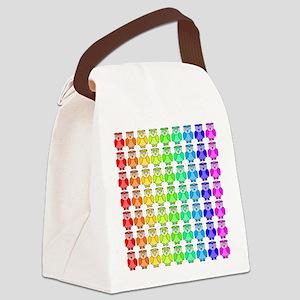 Rainbow Owl Pattern Canvas Lunch Bag