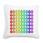 Rainbow Owl Pattern Square Canvas Pillow