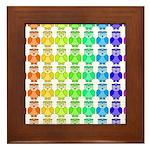 Rainbow Owl Pattern Framed Tile