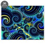 Funky Blue and Yellow Swirl Pattern Puzzle