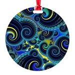 Funky Blue Swirl Pattern Round Ornament