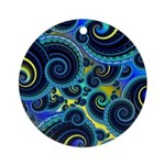 Funky Blue Swirl Pattern Ornament (Round)