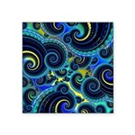 Funky Blue and Yellow Swirl Pattern Square Sticker