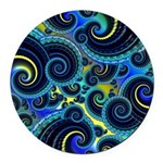 Funky Blue Swirl Pattern Round Car Magnet