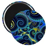 Funky Blue and Yellow Swirl Pattern Magnet