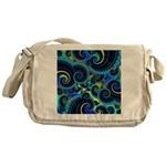Funky Blue and Yellow Swirl Pattern Messenger Bag