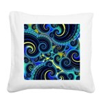 Funky Blue and Yellow Swirl Pattern Square Canvas