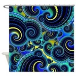 Funky Blue and Yellow Swirl Pattern Shower Curtain
