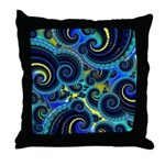 Funky Blue and Yellow Swirl Pattern Throw Pillow