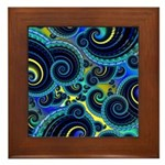 Funky Blue and Yellow Swirl Pattern Framed Tile