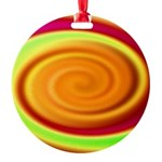 Abstract Rainbow Swirl Pattern Round Ornament