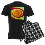 Abstract Rainbow Swirl Pattern Men's Dark Pajamas