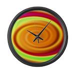 Abstract Rainbow Swirl Pattern Large Wall Clock