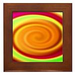 Abstract Rainbow Swirl Pattern Framed Tile