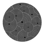 Black and White Retro Pattern Round Car Magnet