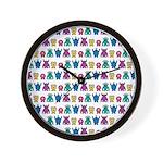 Kawaii Monster Pattern Wall Clock