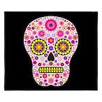 Pink Mexican Flower Skull King Duvet