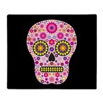 Pink Mexican Flower Skull Throw Blanket