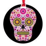Pink Mexican Flower Skull Round Ornament