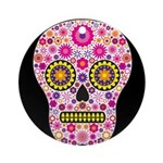 Pink Mexican Flower Skull Ornament (Round)