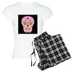 Pink Mexican Flower Skull Women's Light Pajamas